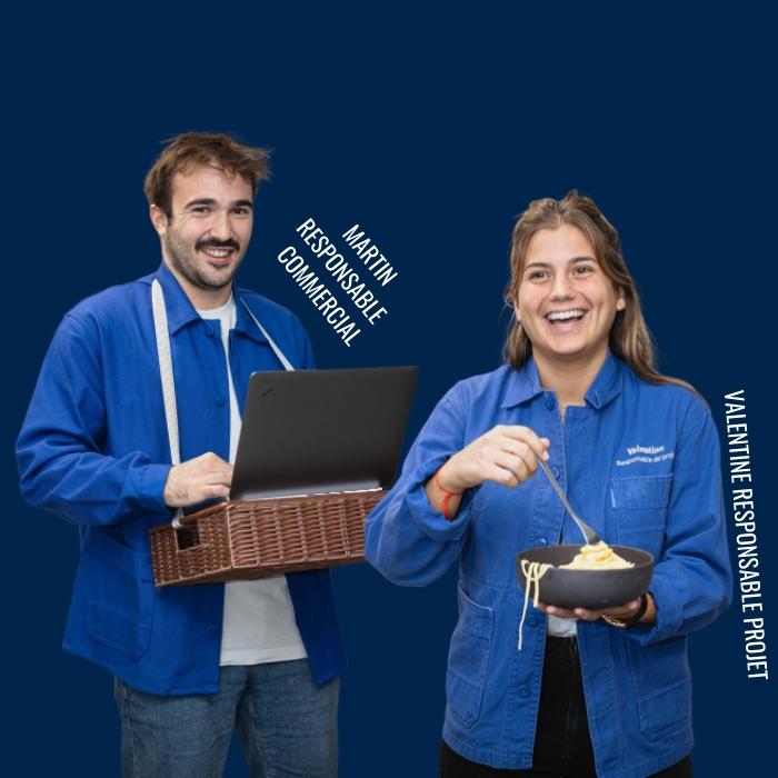 Martin, responsable commercial et Valentine, responsable projet dans l'équipe chefing