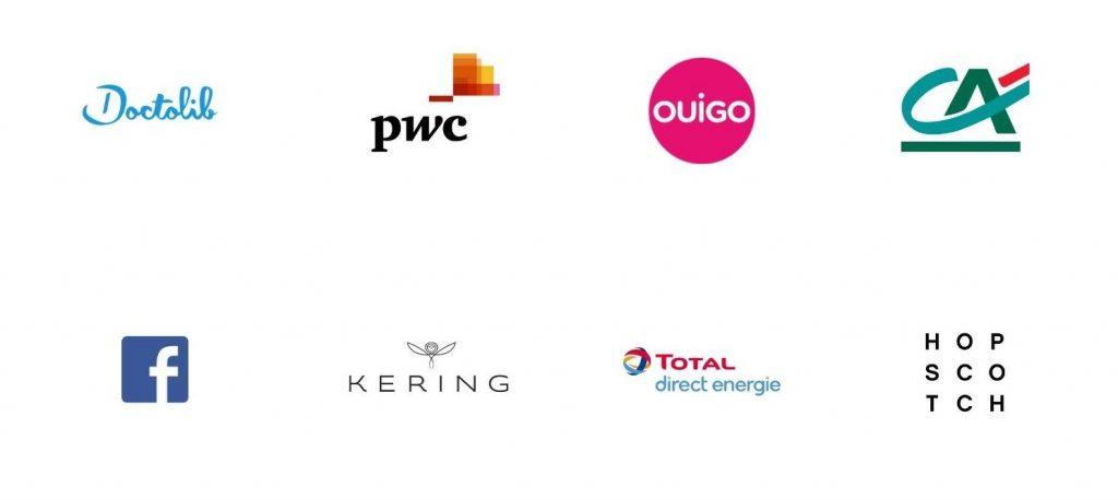 Logos d'entreprises clientes de chefing