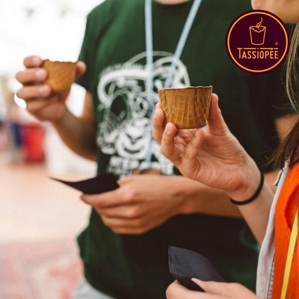 chefing utilise les tasses comestibles Tassiopée sur événement